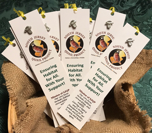 A basket of South Jersey Quail Project bookmarks